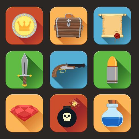 Icone di risorse di gioco piatte vettore