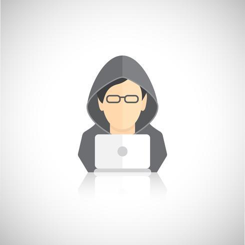 Icone di hacker piatte vettore