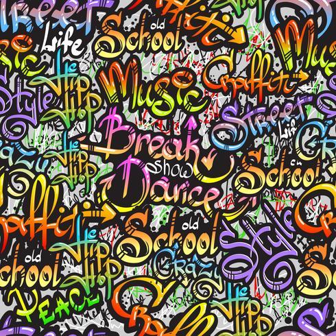 Graffiti parola seamless pattern vettore