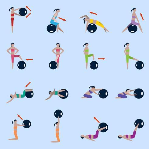 Set di icone di palla fitness vettore