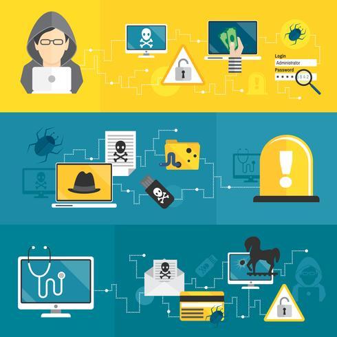 Set di banner di hacker vettore