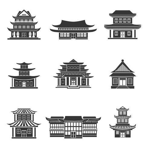 Icone cinesi della casa nere vettore