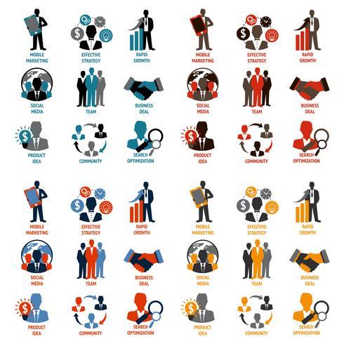 Icone di affari e gestione vettore