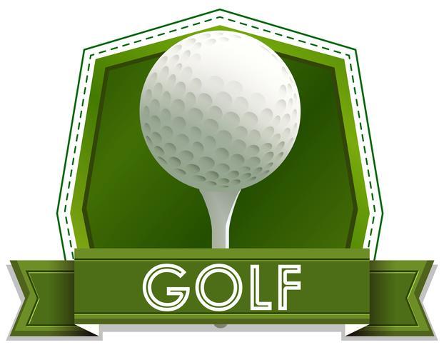 Design dell'etichetta con pallina da golf e spillo vettore
