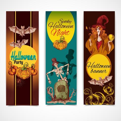 Bandiere colorate di Halloween verticali vettore