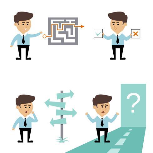 Decisione di ricerca uomo d'affari vettore
