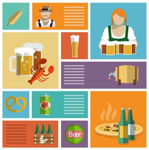 Icone della birra impostate piatte vettore