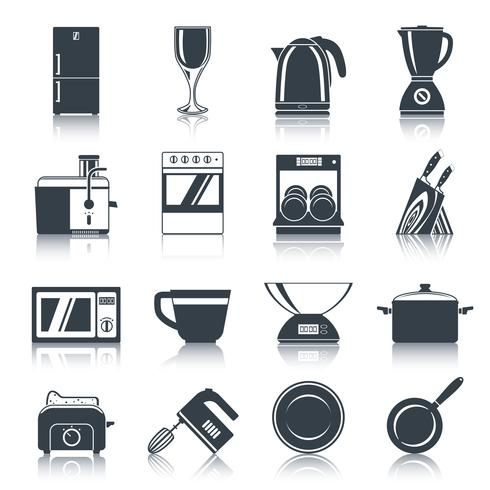 Icone di elettrodomestici da cucina nero vettore