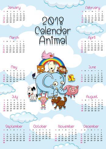 modello di calendario con simpatici animali vettore