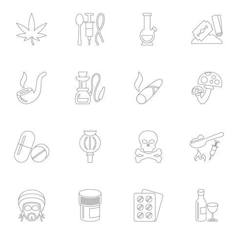 Contorno di icone di droghe vettore