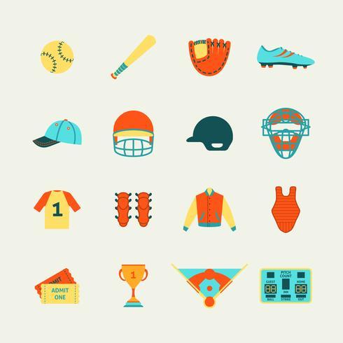 Icone di baseball impostate piatte vettore