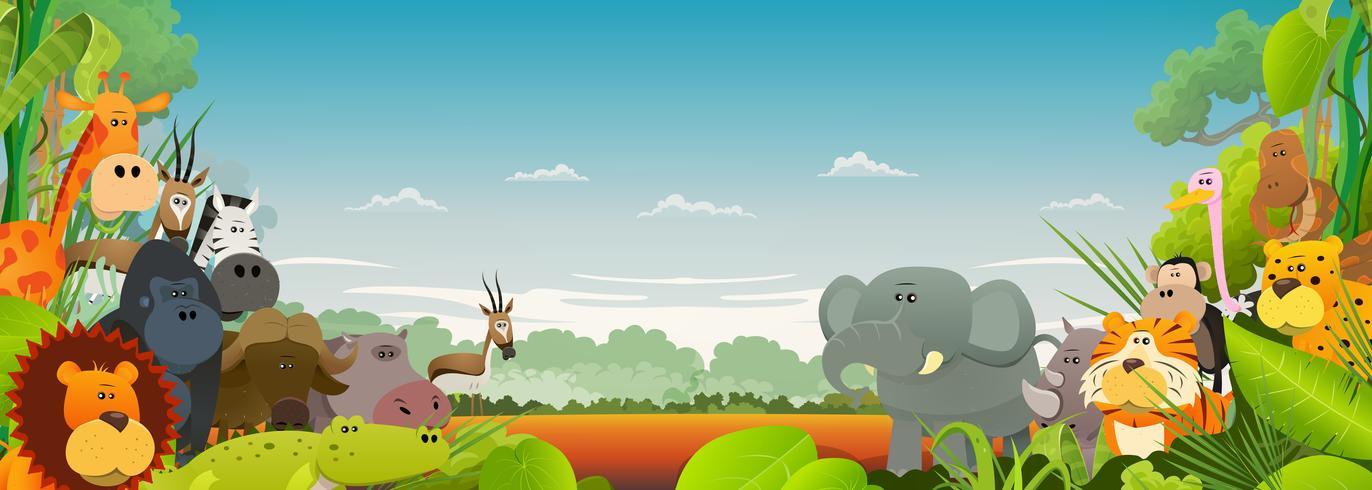 Sfondo di animali africani della fauna selvatica vettore