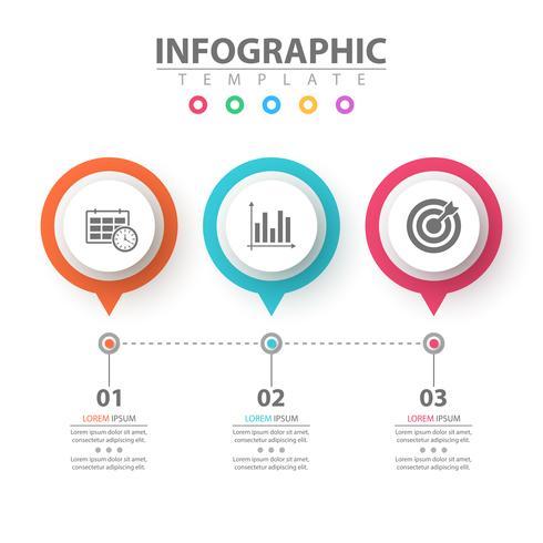 Infografica di affari Modello di origami di carta. vettore
