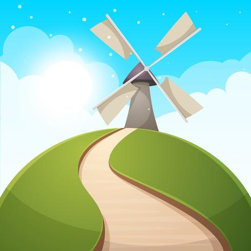 Illustrazione di paesaggio dei cartoni animati Sole. strada, collina nuvola vettore
