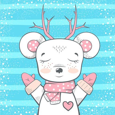 Orso carino, cervo - illustrazione del bambino. vettore