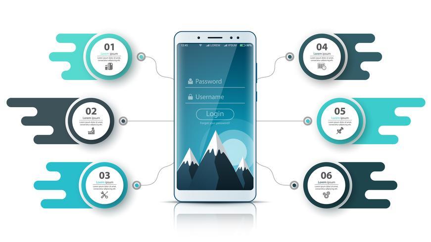 Infografica aziendale Smartfone. Grafica aziendale vettore