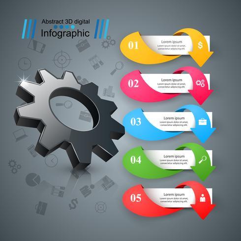Cogwheel, icona dell'ingranaggio. Infografica aziendale vettore