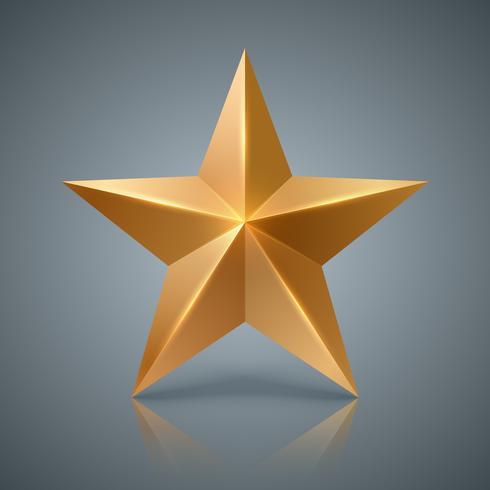 Stella d'Oro. Icona realistica 3D vettore