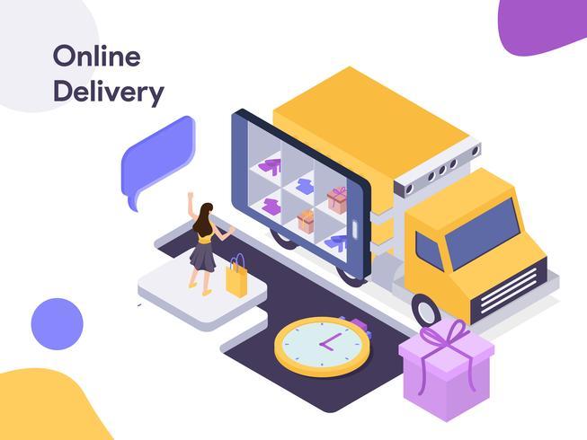Illustrazione isometrica di consegna online. Stile moderno design piatto per sito Web e sito Web mobile. Illustrazione vettoriale