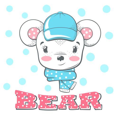 Illustrazione sveglia, divertente dell'orso di inverno. vettore