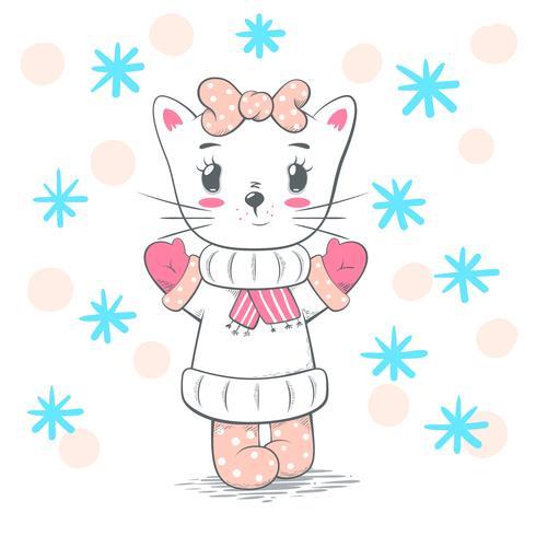 Illustrazione di gatto carino, carino amore. vettore