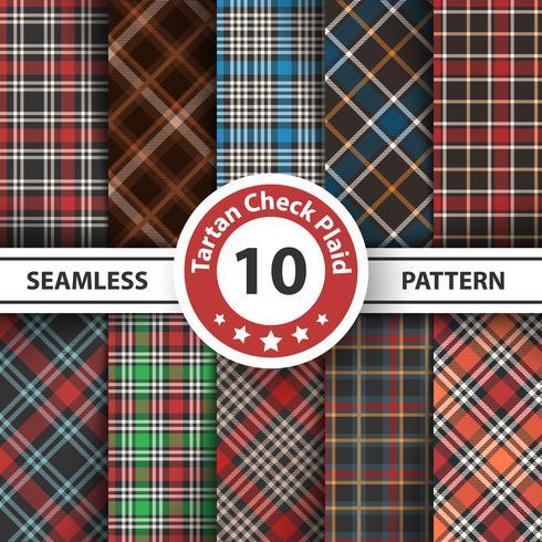 Classico tartan, tovaglia da picnic, percalle, bufali, lamberjack, buon natale check plaid seamless patterns. vettore
