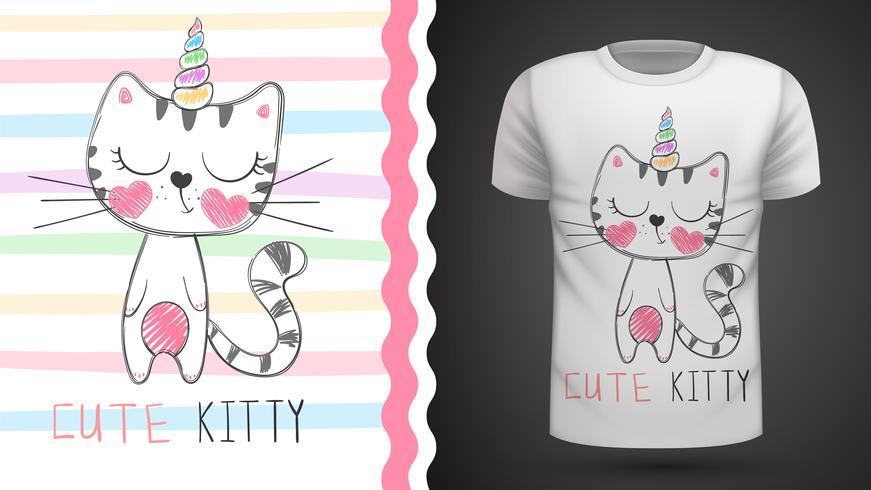 Simpatico gatto - idea per t-shirt stampata. vettore