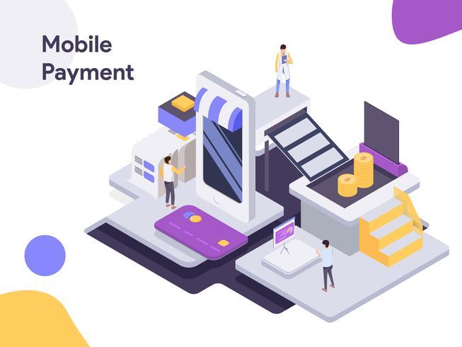 Illustrazione isometrica di pagamento mobile. Stile moderno design piatto per sito Web e sito Web mobile. Illustrazione vettoriale