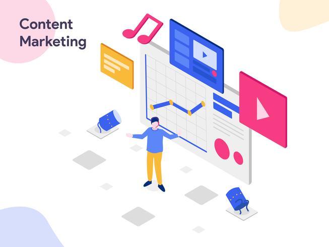 Illustrazione isometrica di Content Marketing. Stile moderno design piatto per sito Web e sito Web mobile. Illustrazione vettoriale