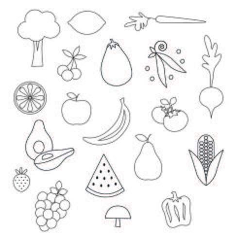 Clipart di francobolli digitali di frutta e verdura vettore