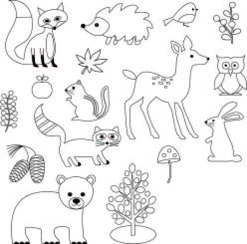 Clipart di francobolli digitali animali di bosco vettore