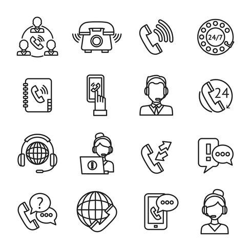 set di icone di contorno del centro di chiamata vettore