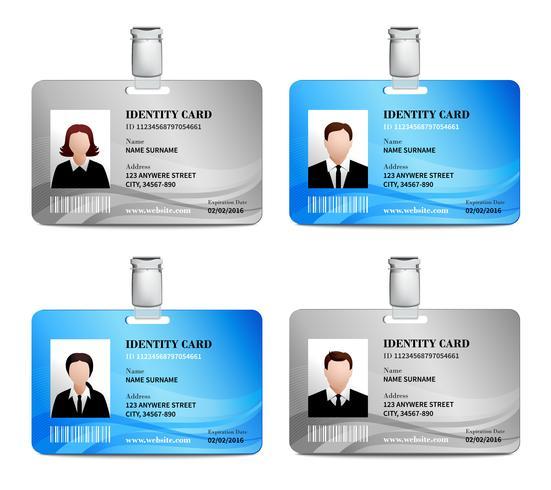 Set di carte d'identità vettore