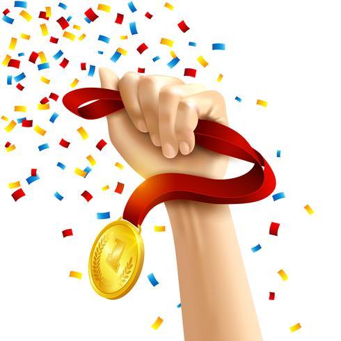 Medaglia della medaglia dei vincitori della holding della mano vettore