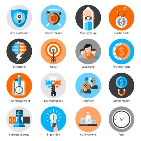 Set di icone di concetto di affari vettore
