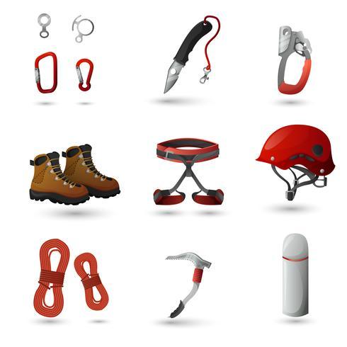 Set di icone di alpinismo vettore