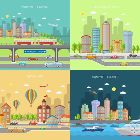 Set di concetti di design di città Transpot vettore