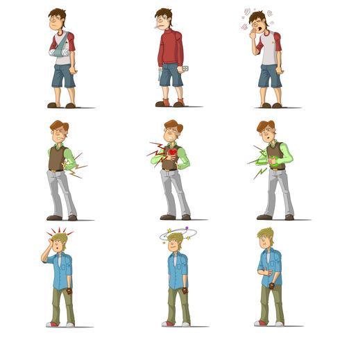 Set di caratteri piatti uomo malattia medica vettore