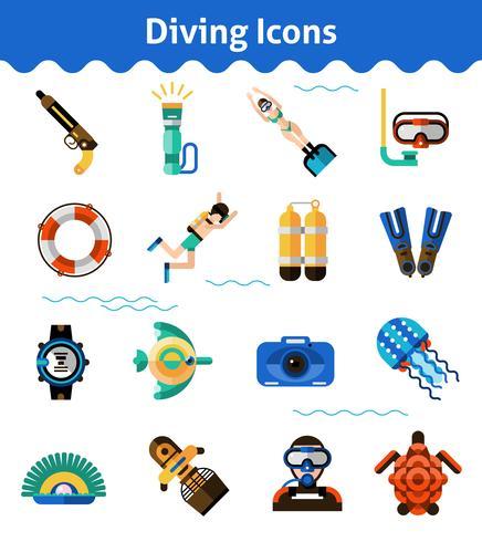 Set di icone di immersioni vettore