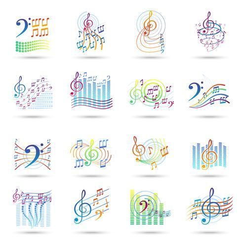 Set di icone di note musicali vettore