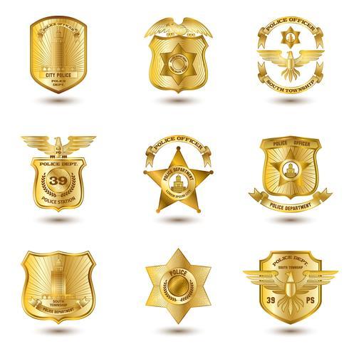 Distintivi della polizia oro vettore