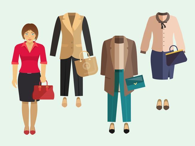 Vestiti della donna di affari messi vettore