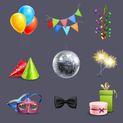 Icone di celebrazione realistica vettore