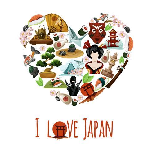 Poster Love Japan vettore