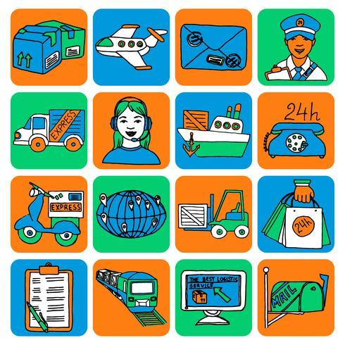 Colore icone logistiche dei cartoni animati vettore
