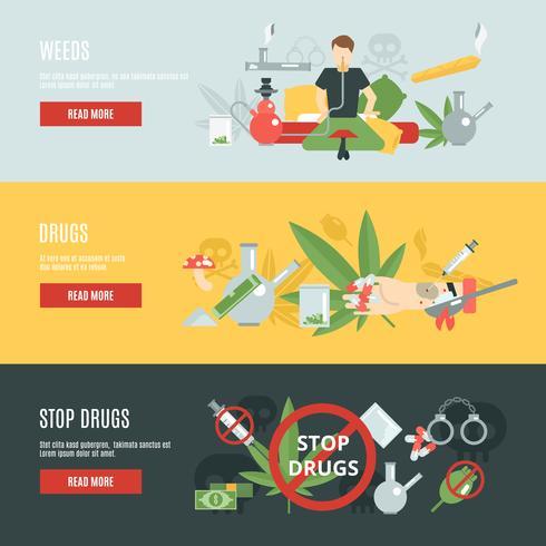 Set di banner di droga vettore