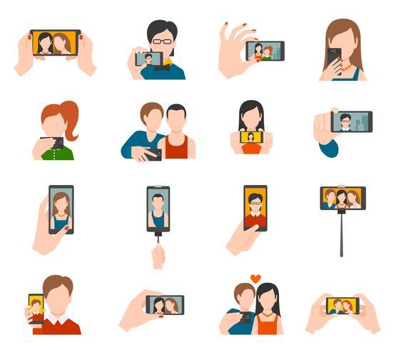 Icone di selfie piatte vettore