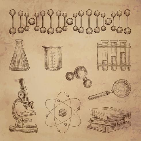 Icone di doodle di scienza vettore