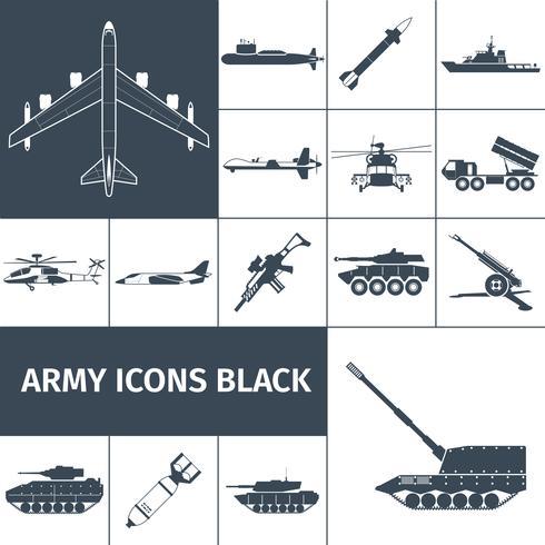 Icone dell'esercito nere vettore
