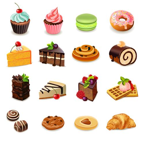 Set di icone di torte vettore